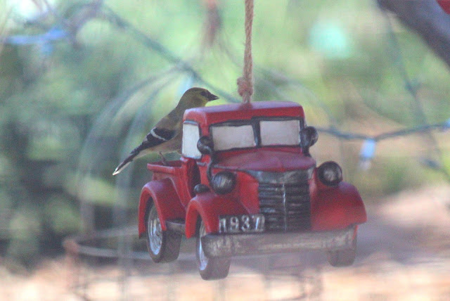 Red truck bird feeder - photo by Janice East / GypsyFarmGirl