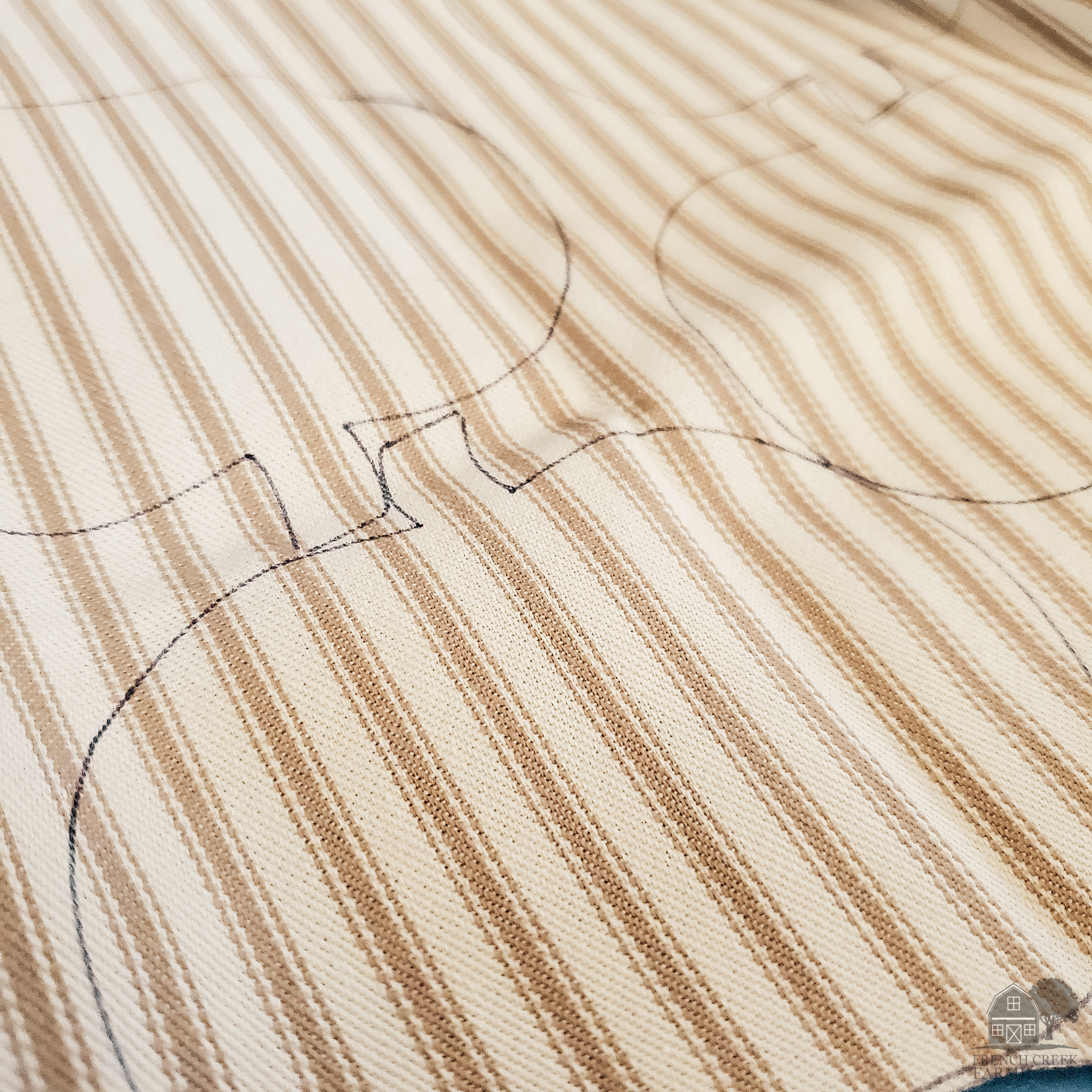 The pumpkin shapes are traced onto the fabric to cut out