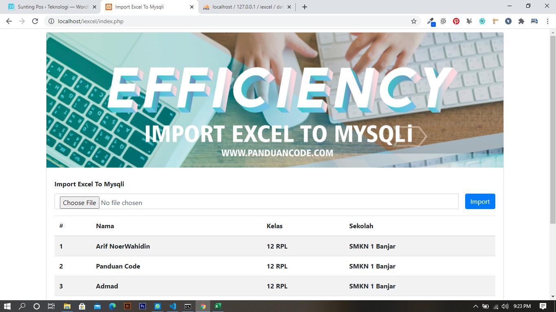 Cara Import Excel Ke MySQLi Pada PHP