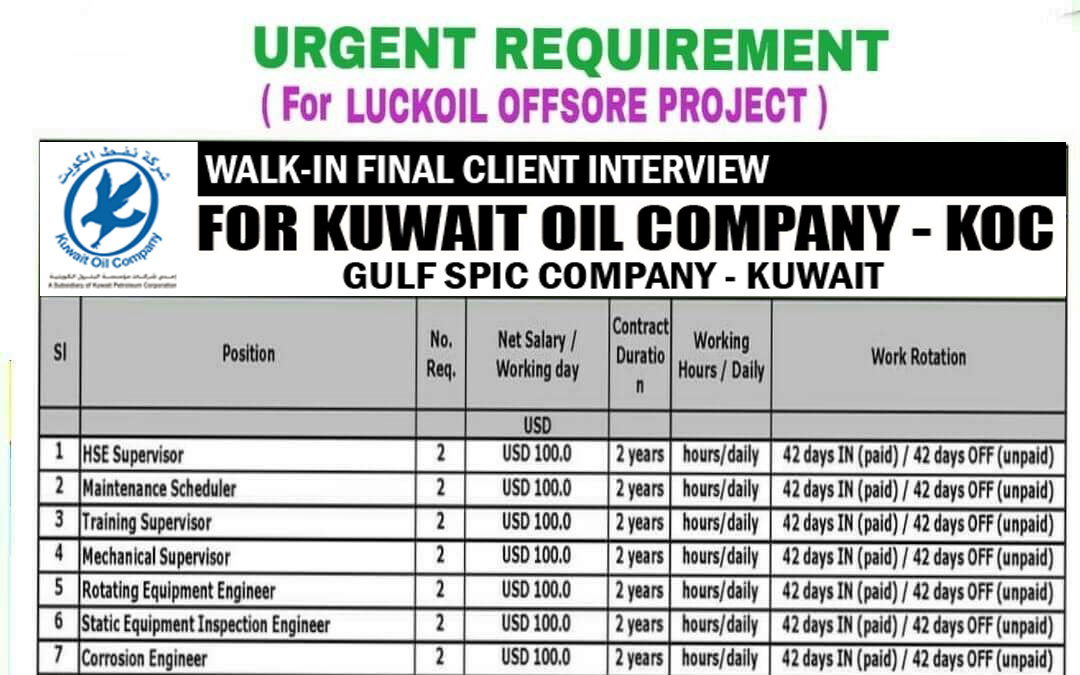Wanted For KOC Gulf SPIC Company Project, Kuwait