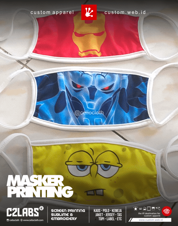 Masker Printing Anak - Custom Masker Jogja