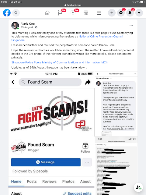 Alaric ong's response to foundscam by Pranav Jere