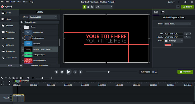 Camtasia window with Library of Intros in use