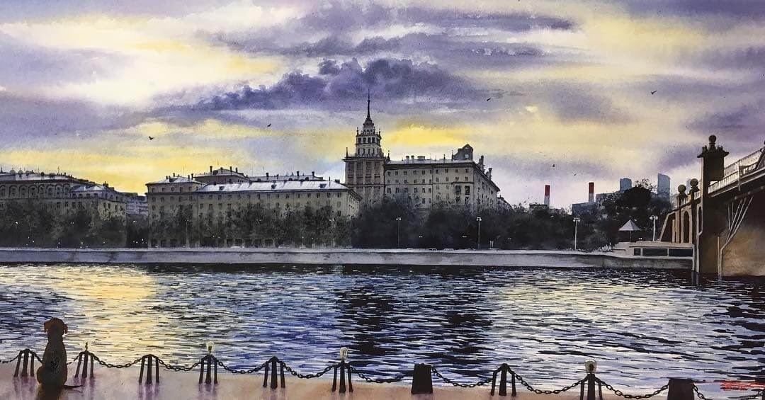 12-Gorky-Park-Moscow-Igor-Dubovoy-Realistic-Urban-Watercolor-Paintings-www-designstack-co