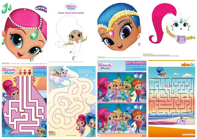 Shimmer and Shine Free Printable Nickelodeon Activity Book.