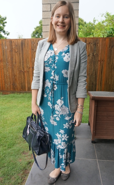 Kmart teal floral print midi dress in the office with grey blazer, silver ballet flats, navy Regan tote | away from blue