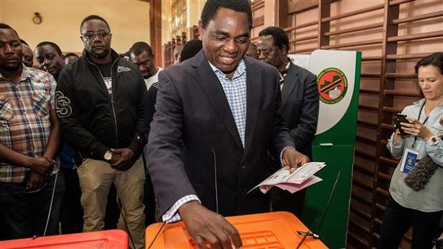 Zambia's opposition candidate Hakainde Hichilema leads in presidential vote