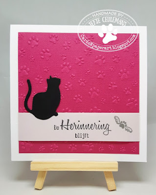 Pet sympathy card for a cat with Marianne Design embossing folder