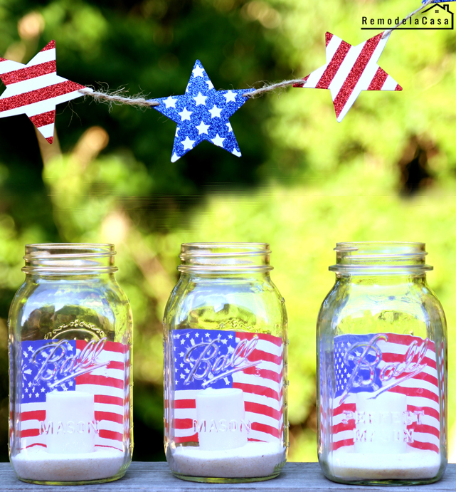 Adorable patio decor! Fourth of July - Patriotic votives