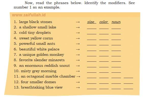 Pembahasan Soal Bahasa Inggris Chapter 4 Task 3 Halaman 63 64 Identify The Modifier Saifullah Id