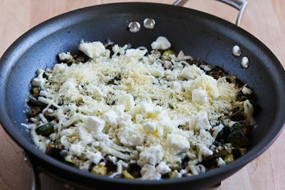 Three Cheese Zucchini Frittata with Mozzarella, Feta, and Parmesan