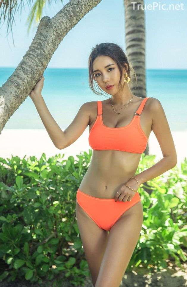 Korean model and fashion - Park Da Hyun - Orange Swimsuit