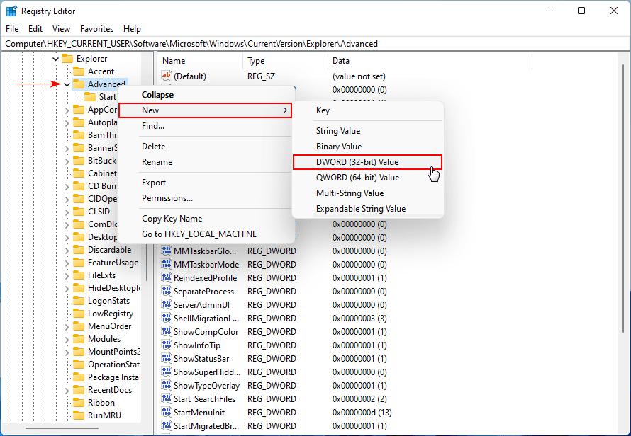 DWORD (32-bit) Değeri Oluşturun