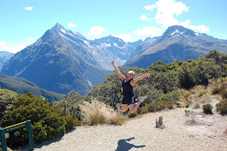 Tanaya mid-jump with mountain in background