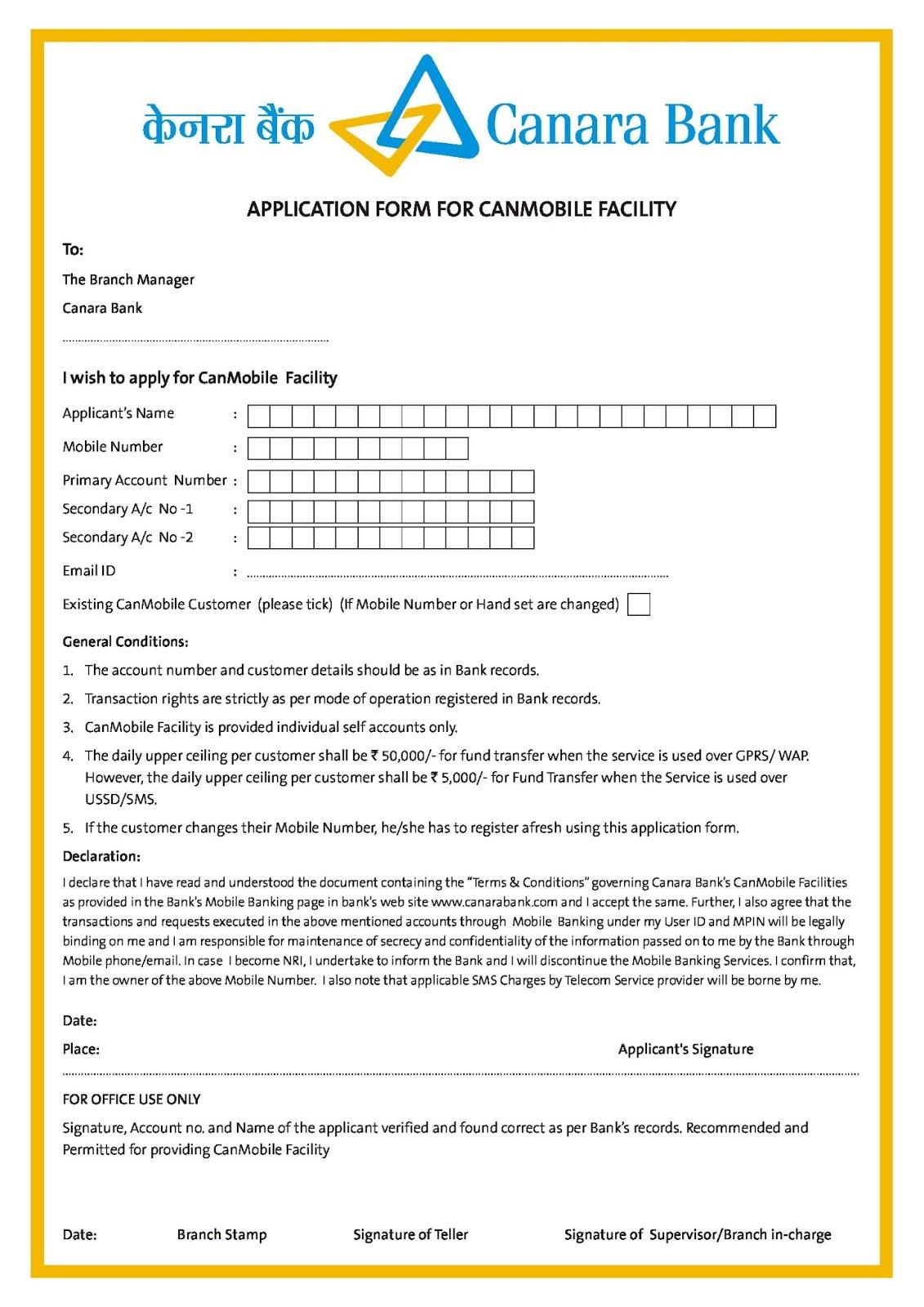 Canara Bank Travel Card Form