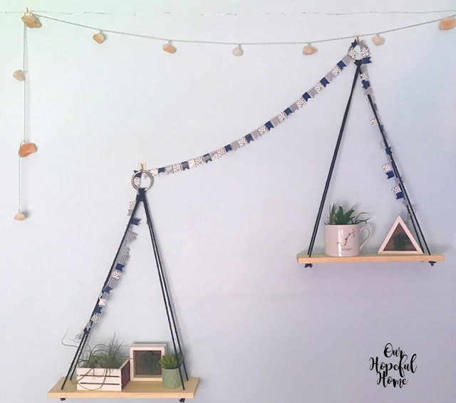 triangle hanging shelves cacti boho bedroom decor