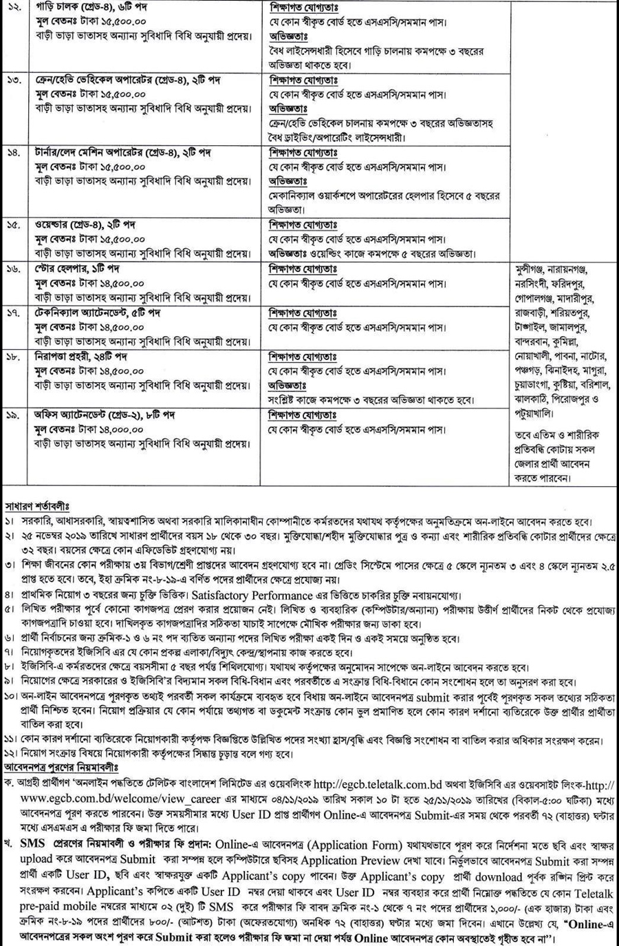 Electricity Generation Company of Bangladesh Limited (EGCB) Job Circular 2019