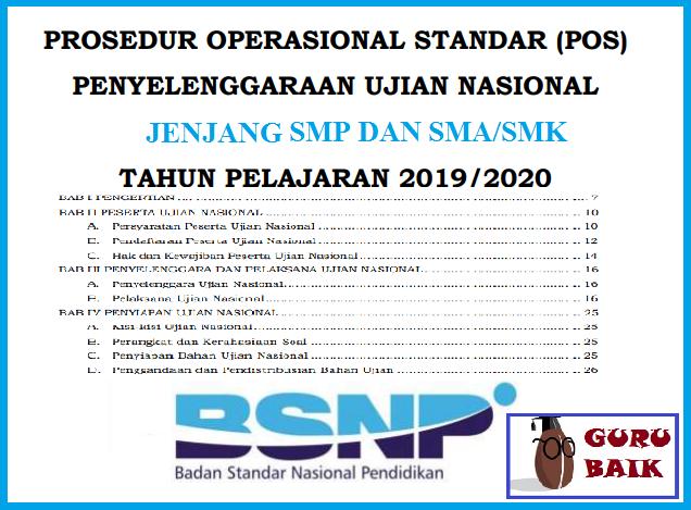 Download POS Ujian Nasional (UNBK / UNKP) Tahun 2020 SMP / Mts Dan SMA / SMK