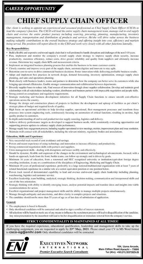 Executives Network International ENI Karachi Jobs 2021 in Pakistan - ENI Pakistan Jobs 2021 Latest Advertisement