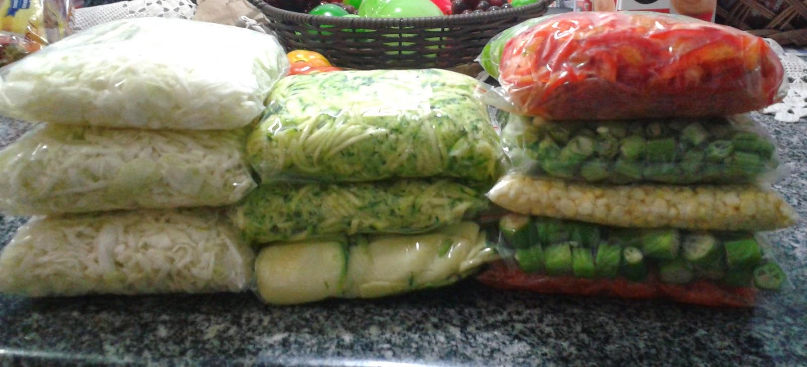 legumes cortados para congelar