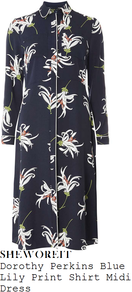 ferne-mccann-dorothy-perkins-navy-blye-white-brown-and-green-lily-floral-print-long-sleeve-contrast-piping-trim-detail-collared-shirt-midi-dress