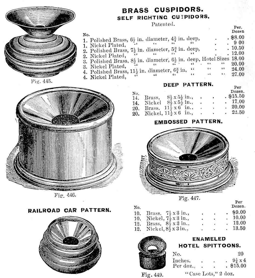 1900 hotel cuspidor & spitoon from an illustrated catalog