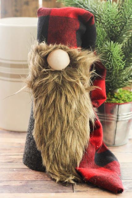 christmas gnome with buffalo plaid