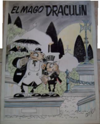 Ilustración original a gran tamaño de El Mago Draculin (serie publicada en Alemania como Drakulin)