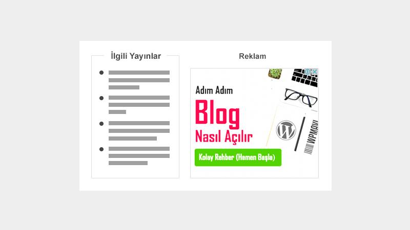 Blog Yayınları İçerisine Reklam ve İlgili Yayınlar Widget'i Nasıl Eklenir?