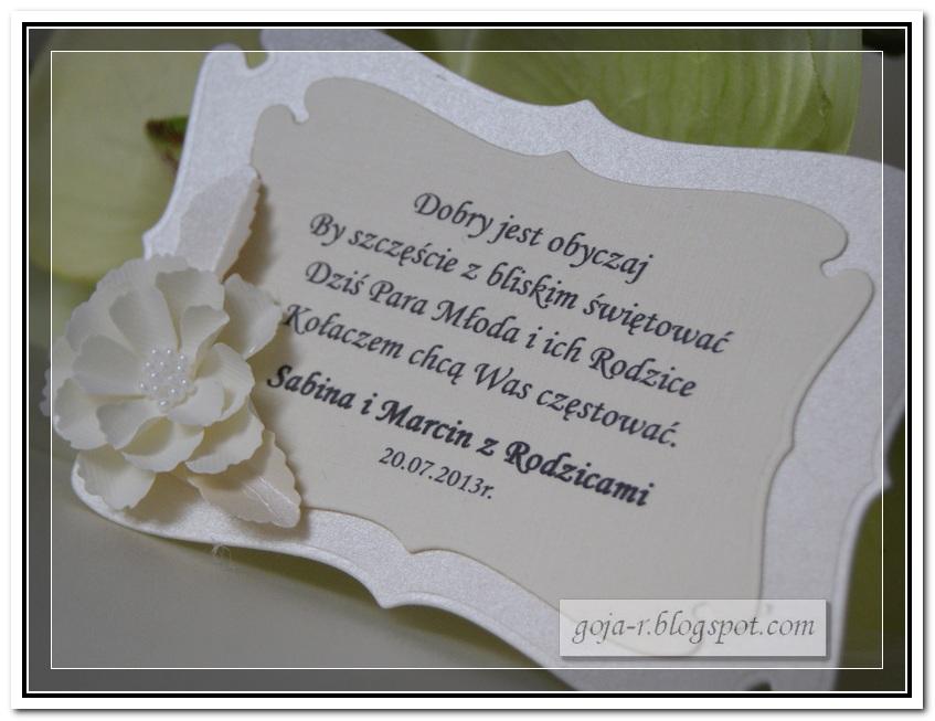 Ogromny goja: kolejne karteczki na kołacz weselny ZH77