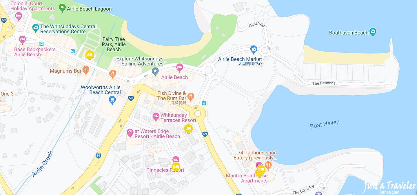 聖靈群島-艾爾利海灘-Airlie-Beach-住宿-地圖-推薦-飯店-旅館-酒店-民宿-公寓-市區-自由行-便宜-CP值-澳洲-Best-Hotel-Whitsundays
