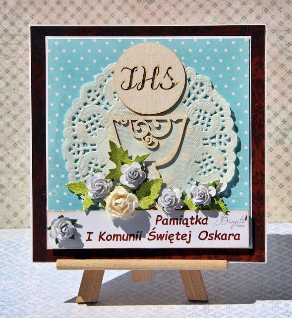 I Komunia Święta, kartka warstwowa, pamiątka komunii dla chłopca, kartka na rocznicę komunii, UHK Gallery inspiracje, kartka komunijna z tekturką