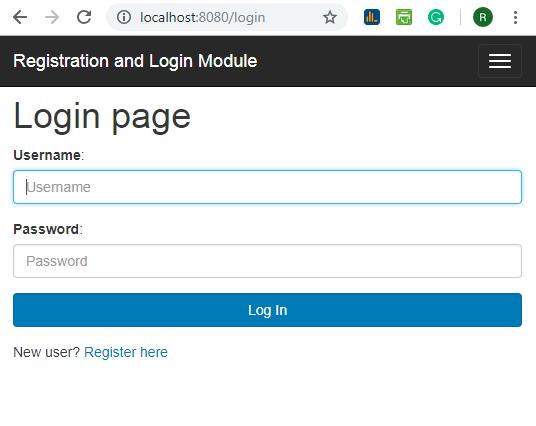 User Registration Module using Spring Boot + Spring MVC + Spring