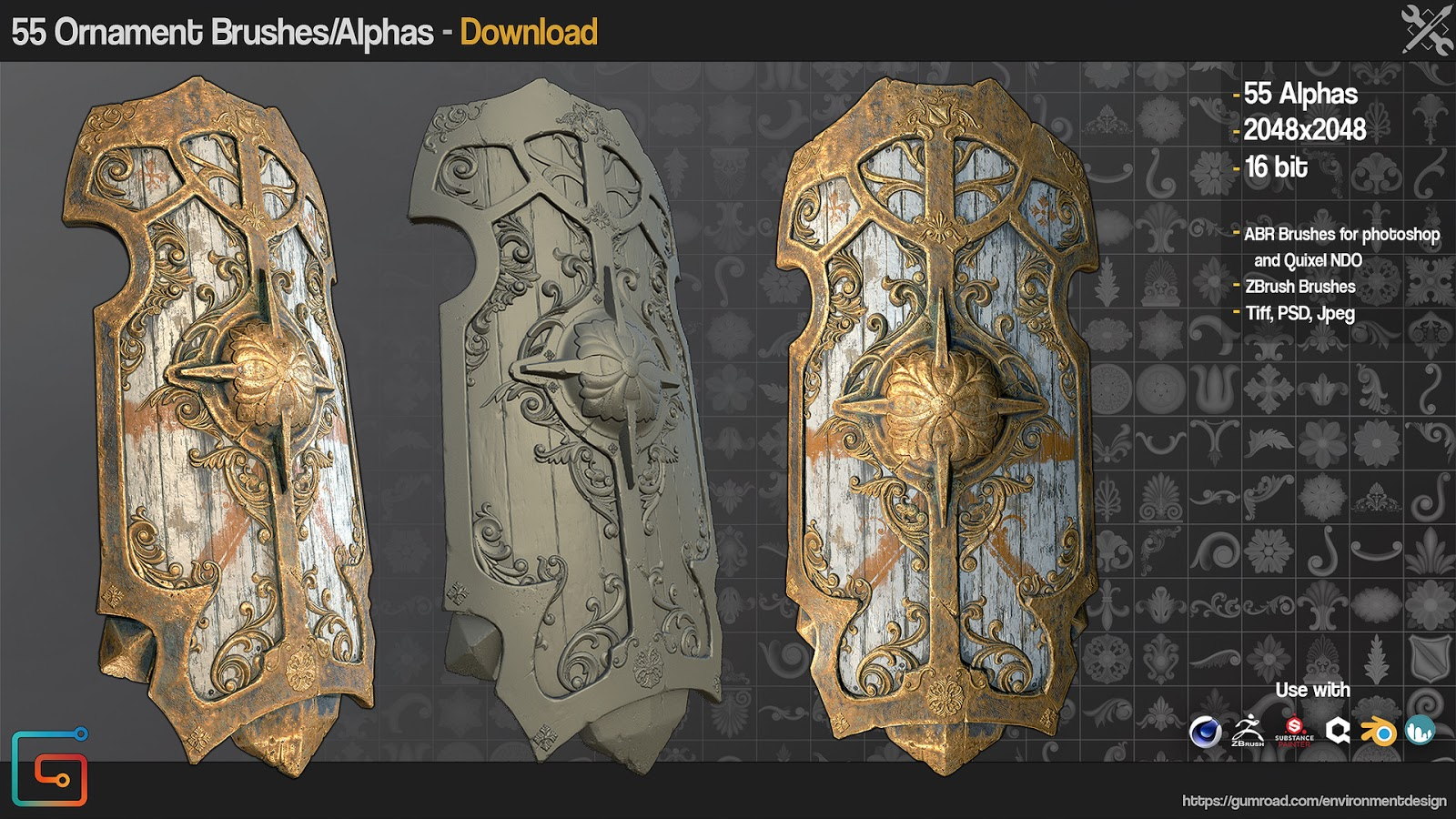3D is my life: Gumroad - ZBrush/SP - 55 Ornament Brushes +