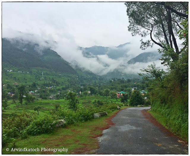 Beautiful Road, Himachal, Village, Hills, covered, Clouds,
