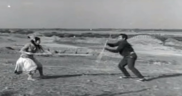 Stick fights in old Telugu movies