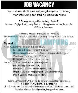 Karir Lampung di PT. Bintang Bukit Barisan Tanjung Bintang Terbaru Agustus 2016