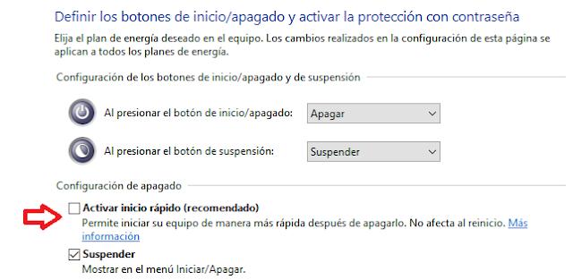Windows: Deshabilitar inicio rápido
