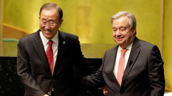 Antonio Guterres junto a Ban Ki-moon