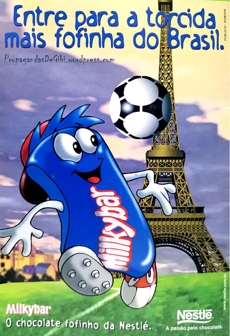 Anúncio da Neslté promovendo o Milkybar durante a Copa do Mundo de 1998