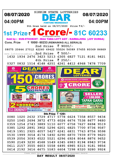 Sikkim State Lottery Sambad  08-07-2020 Today Result 4 PM