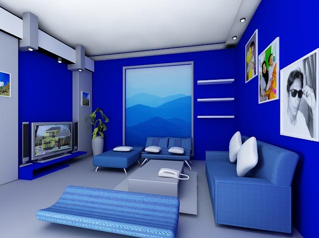50 Dekorasi Interior Ruang Tamu Dengan Warna Cat Biru Desainrumahnya Com