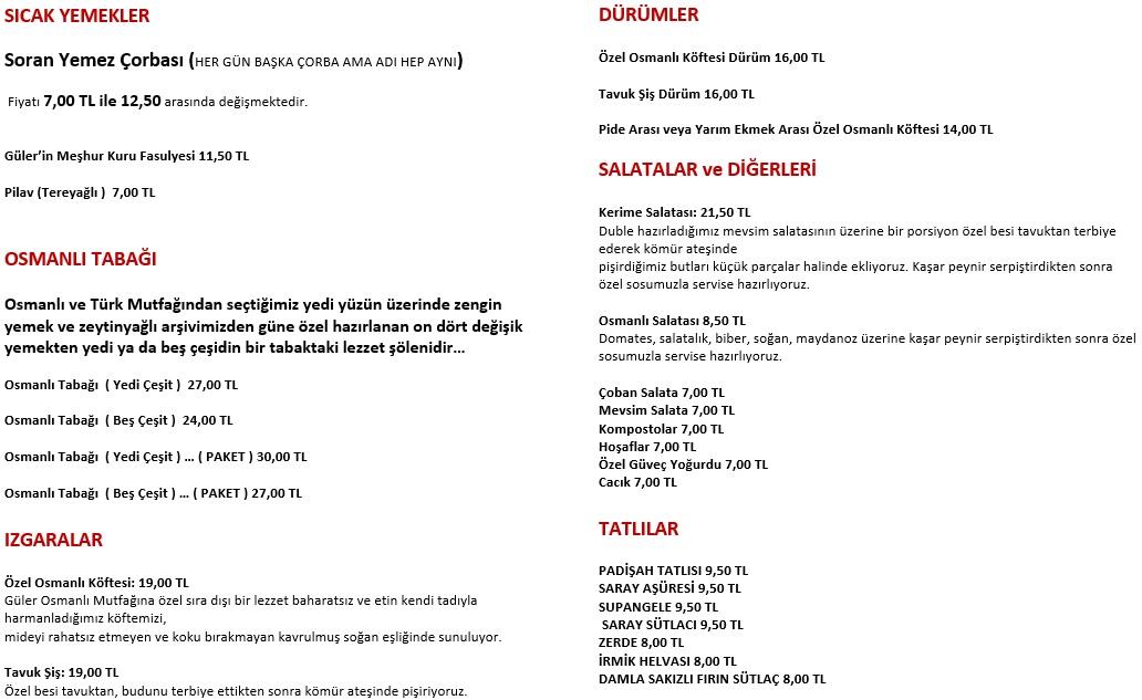 güler osmanlı mutfağı menü fiyatlar