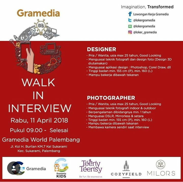 Walk In Interview Gramedia World Palembang 11 - 12 April 2018