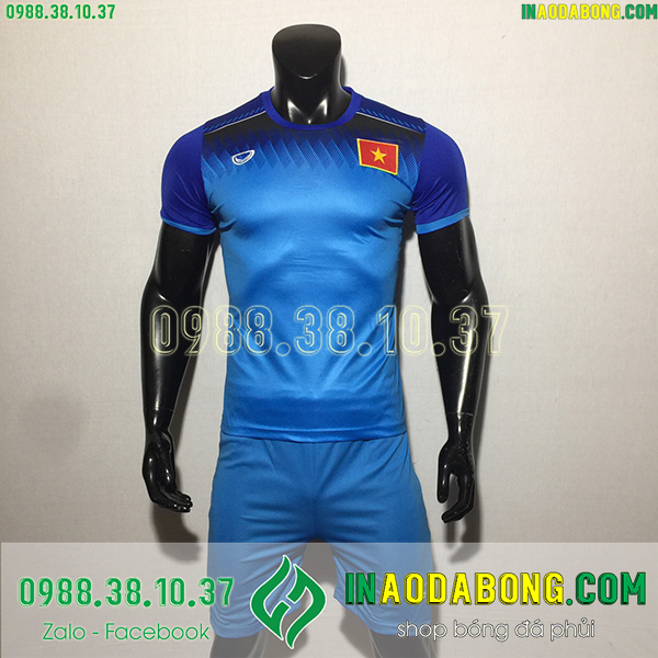 Áo bóng đá đội tuyển Việt Nam training màu xanh