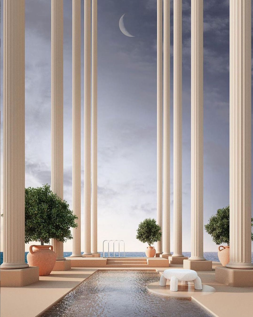fantasy spot to escape reality in an open swimming pool between antiquity columns