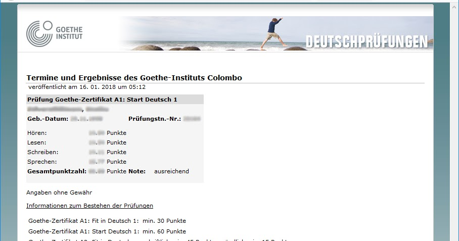Check Deutsch exam results held by Goethe-Institut (GI