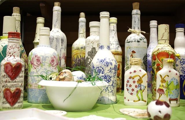 decoupage decorated bottles