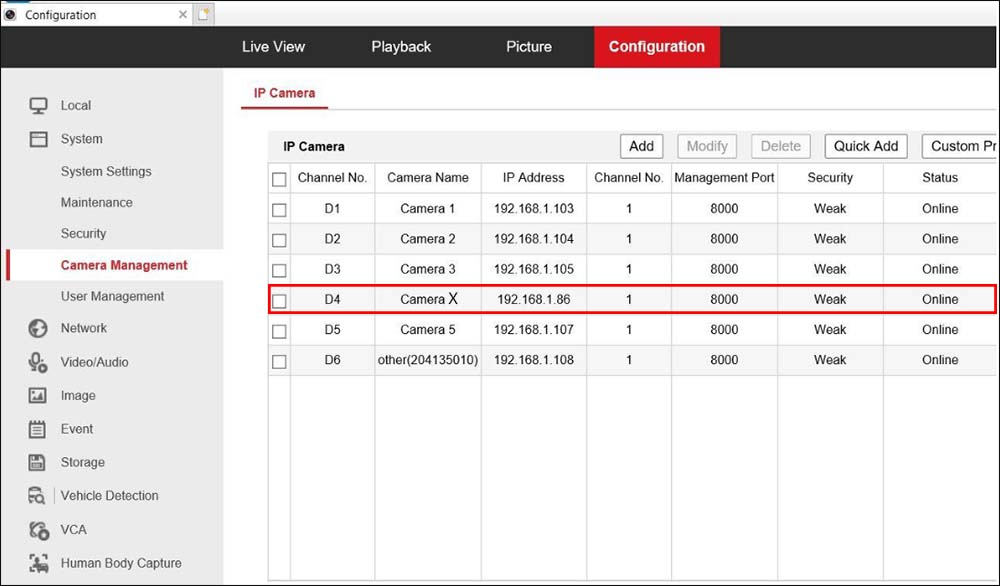 How to change camera sequence on Hikvision recorder