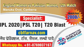 Today Match Prediction England Women vs Pakistan Women ICC Women's T20 World Cup 12th T20 100% Sure